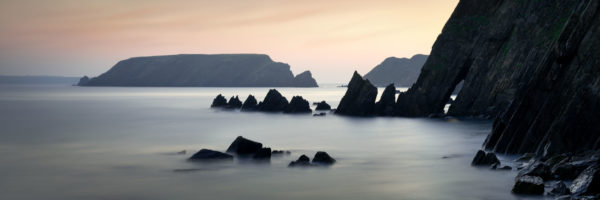 Panoramic print of Marloes sands beach at sunset in Pembrokeshire Wales