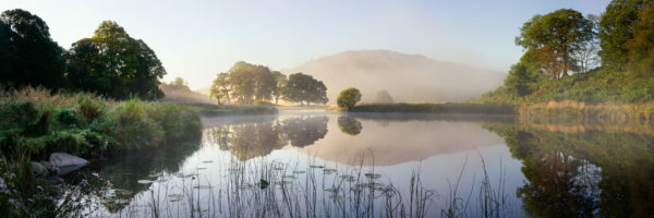 River Brathay on a misty morning in the Lake District Skelwith Bridge Ambleside