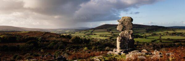 Panorama of the Bowerman's nose tor in Dartmoor national park Devon