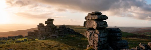Panorama of the Great Staple tor in Dartmoor national park at sunset in Devon