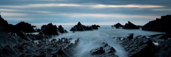 Panorama of Hartland Quay at twilight along the south west coast path in Devon