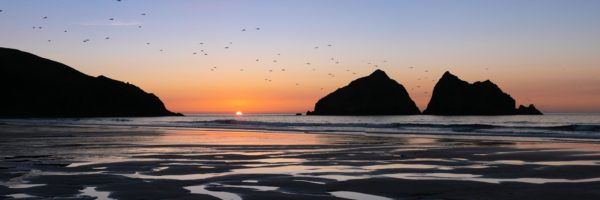 Panorama of Holywell bay and gull rock at sunset along the south west coast path in Cornwall