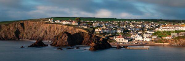 Panorama of hope cove fishing village in Devon
