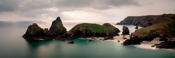 Panorama of Kynance cove and the Lizard along the south west coast path in Cornwall