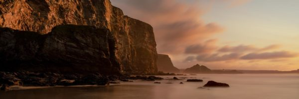 Panorama of Watergate bay at sunset in Cornwall